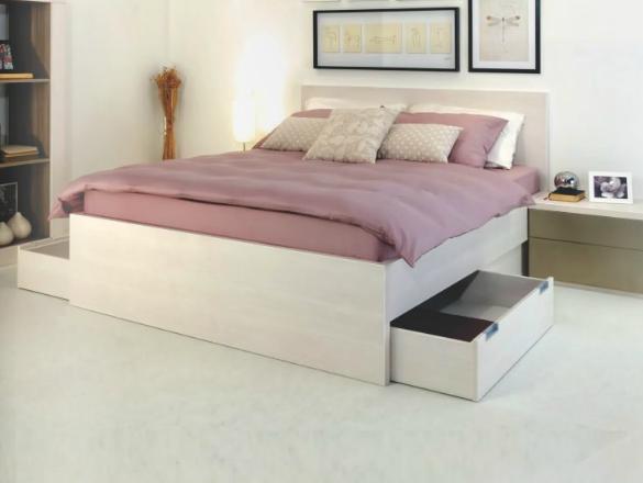 posteljni okvir s predali